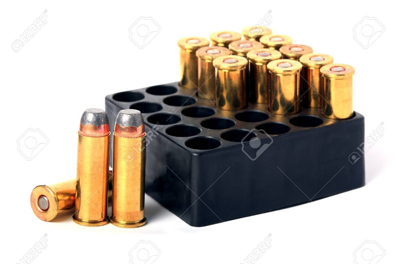 44 Magnum ammo in box isolated