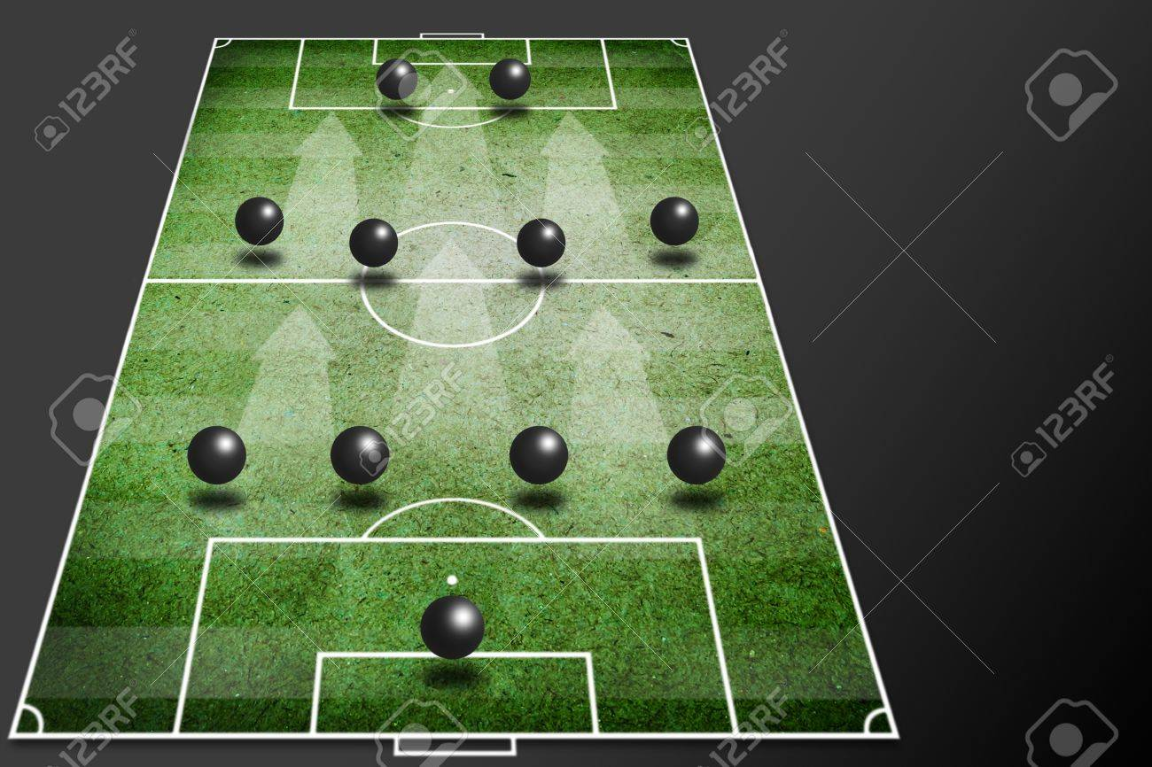 4-4-2 soccer tactic -fornation board Stock Photo - 13156405