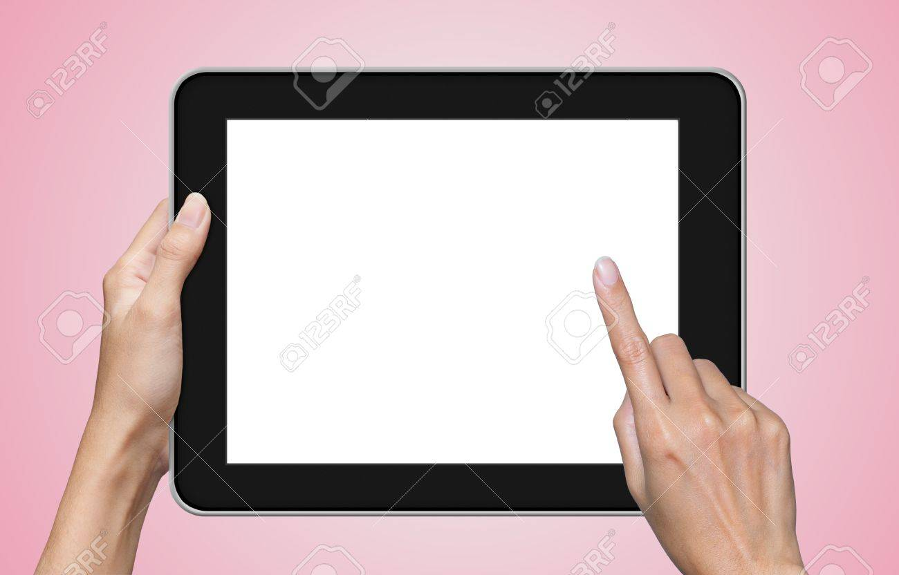 hand touch screen on tablet pc Stock Photo - 13189842