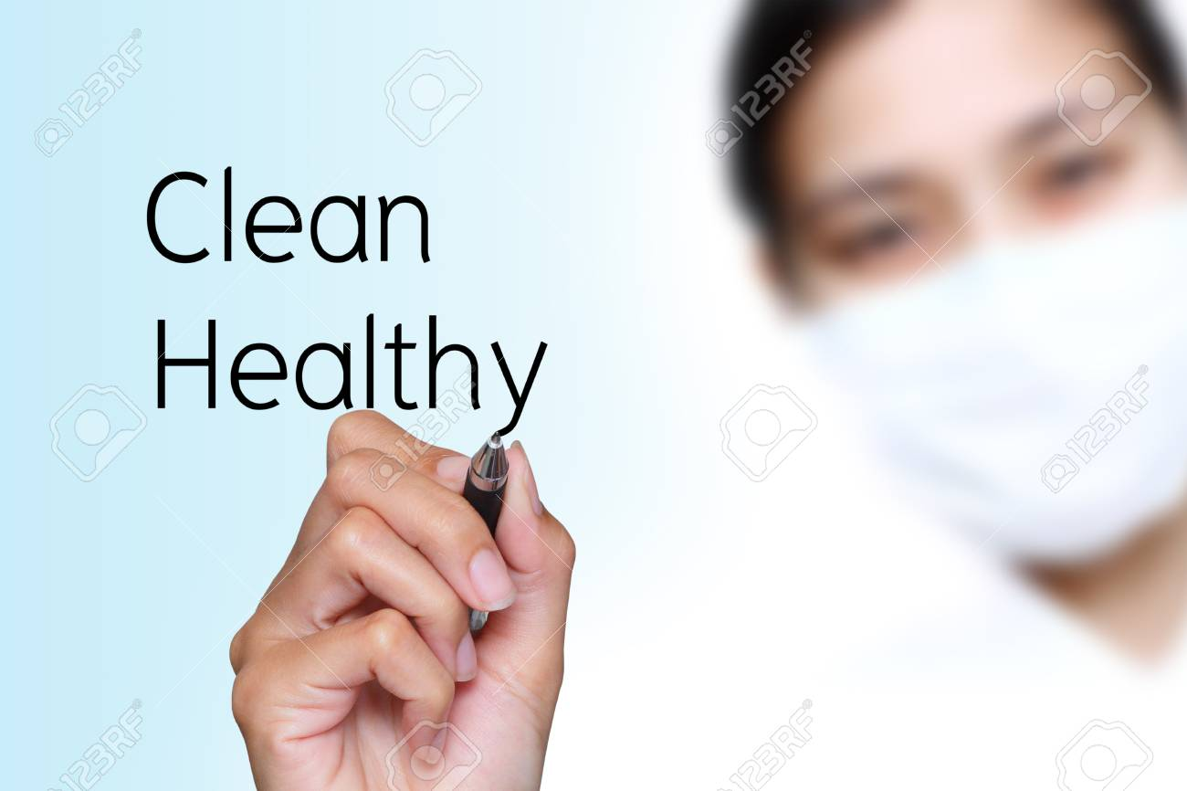 female writing clean and healthy words Stock Photo - 13791246