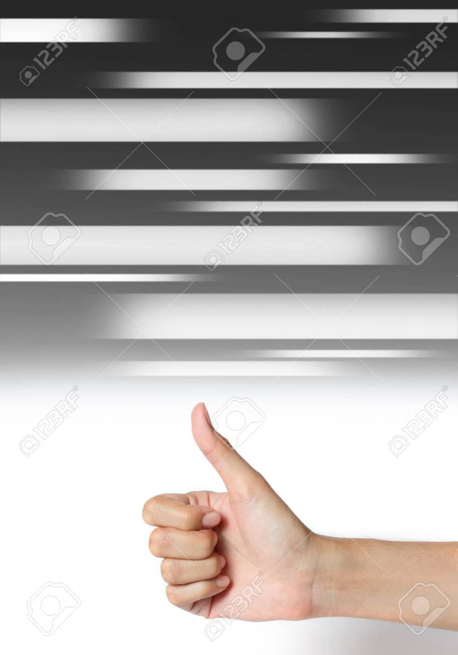 hand thumb up on abstract media blue background Stock Photo - 14459711