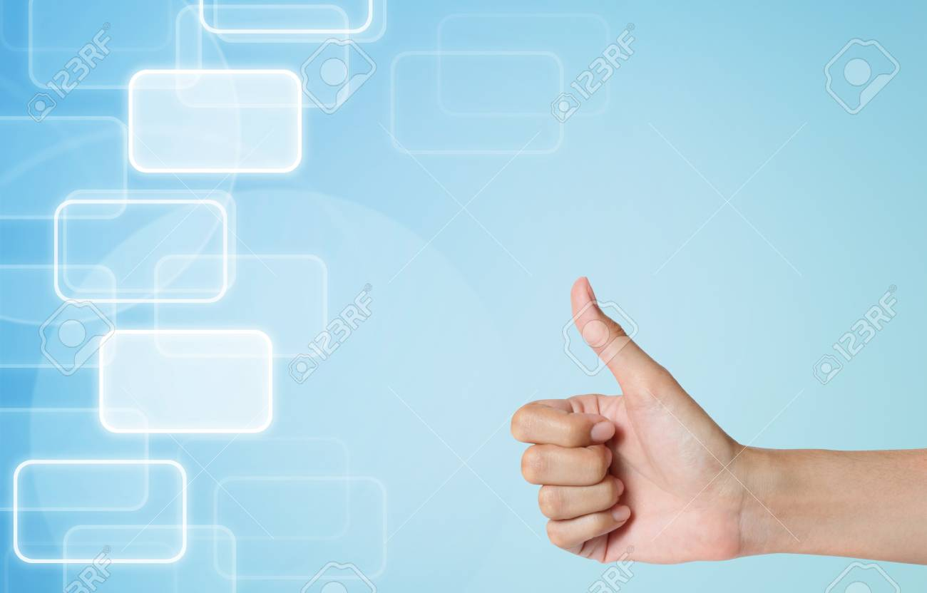 hand thunb up-like icon on modern abstract background Stock Photo - 14796794