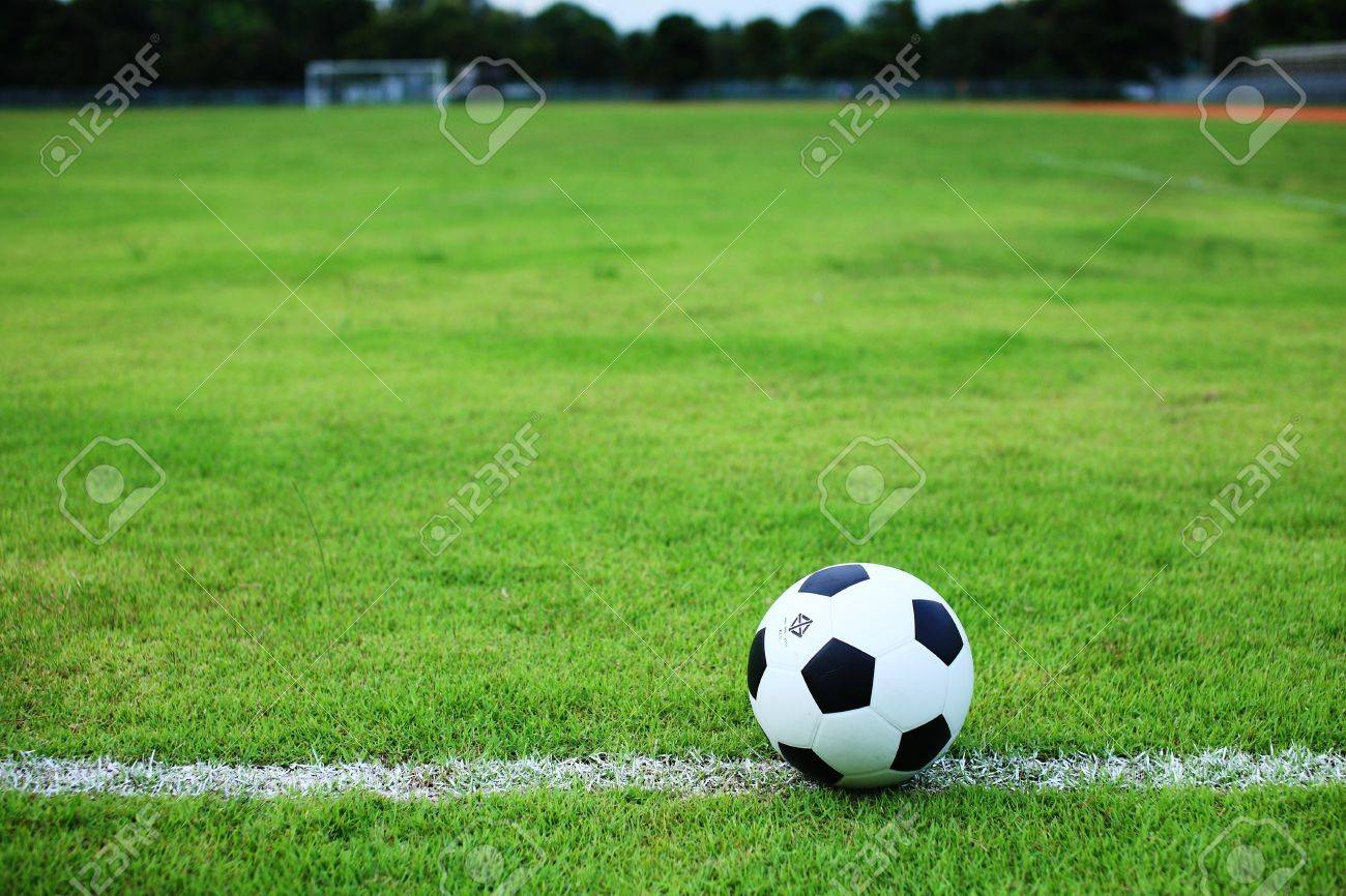 soccer ball on white line Stock Photo - 15207098