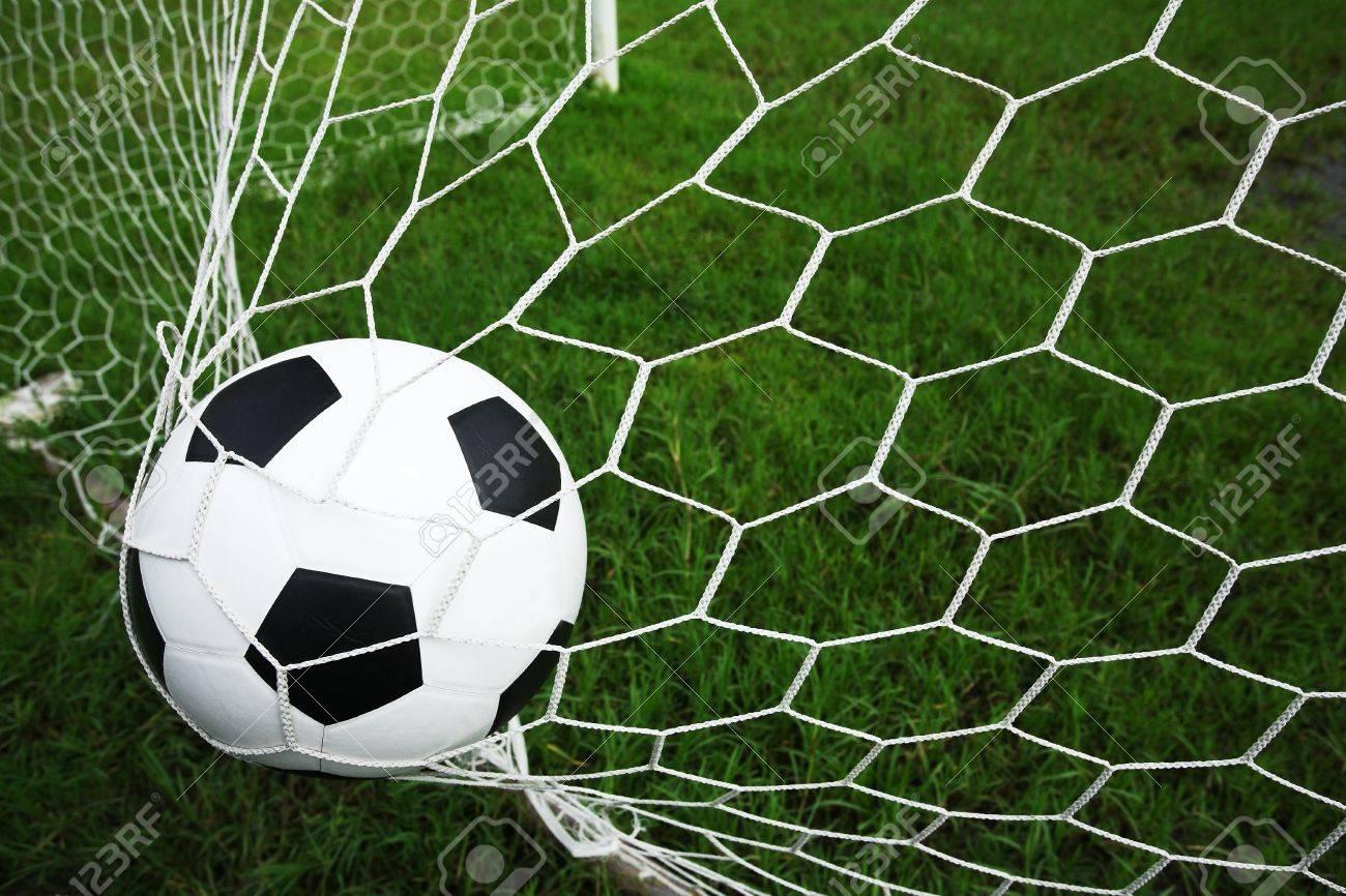 soccer ball in goal Stock Photo - 15207096