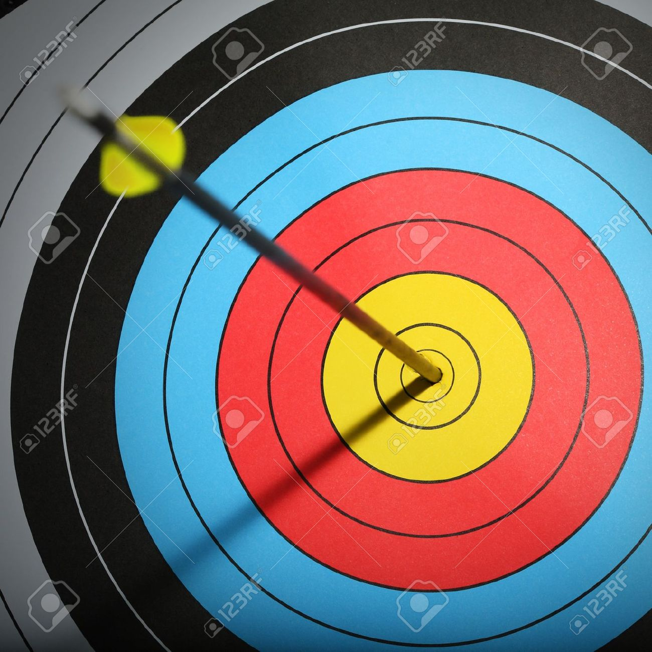 Arrow Hit Goal Ring In Archery Target Stock Photo Picture And