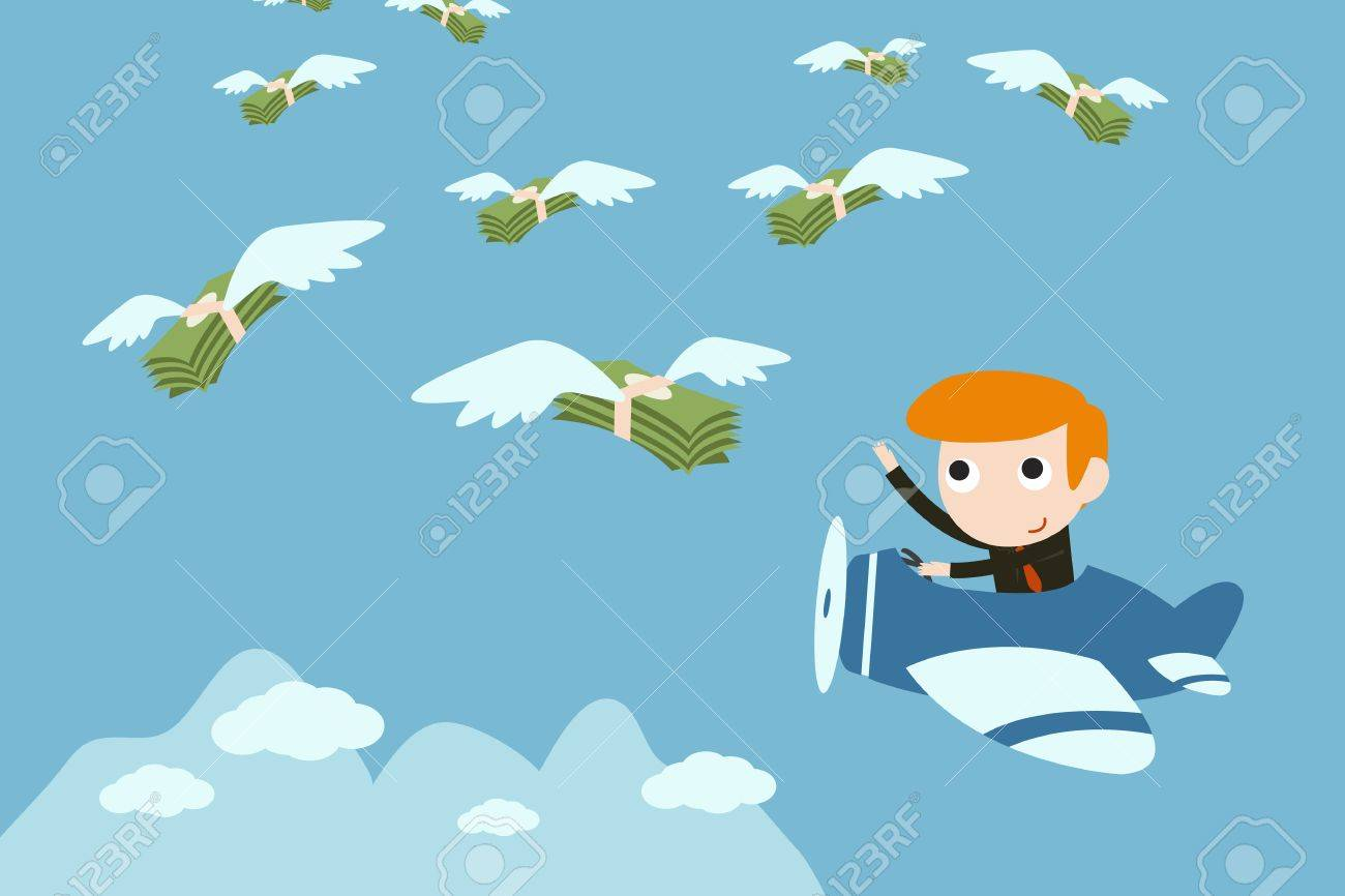 businessman fly to catching money Stock Vector - 18356139