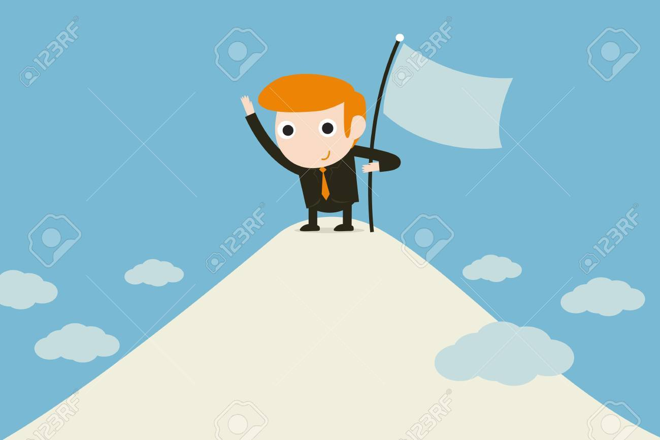 man sinking flag on summit Stock Vector - 18356116