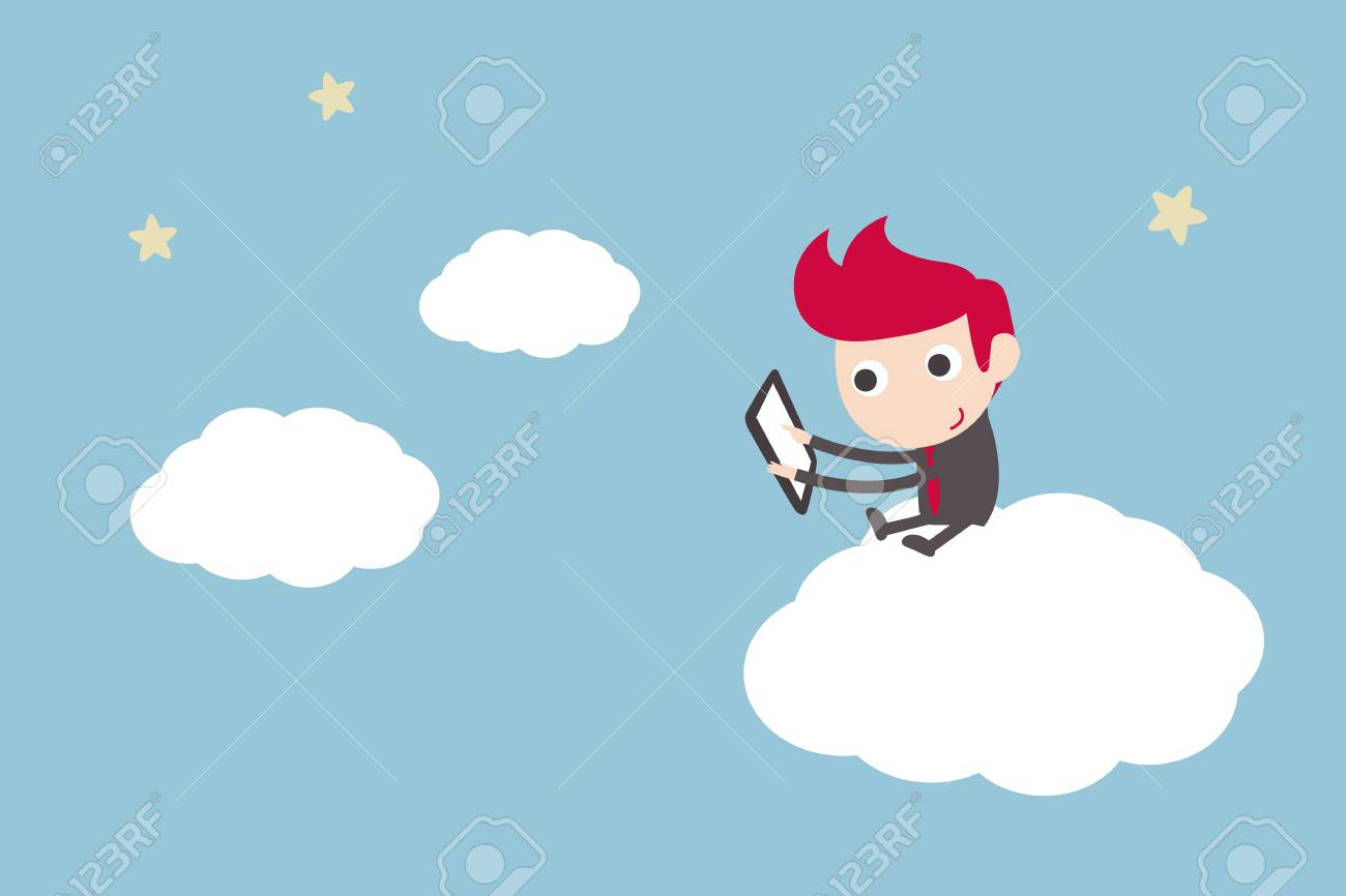 man working on cloud Stock Vector - 18684535