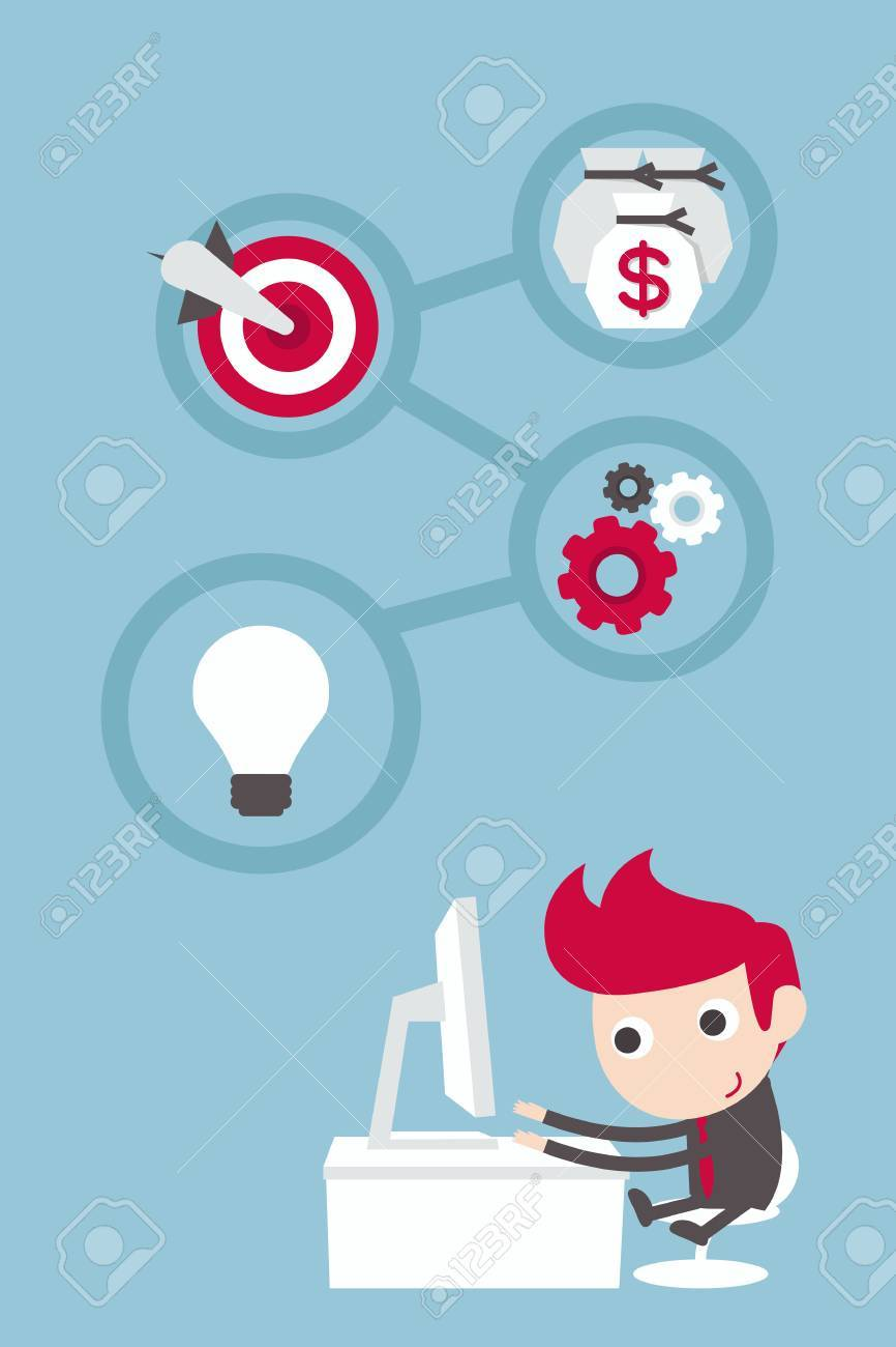 businessman working with plan and target Stock Vector - 20980860