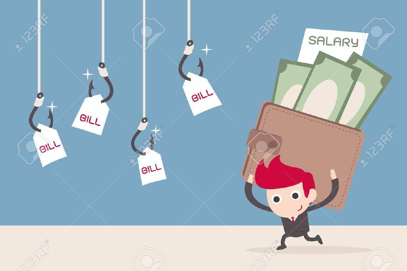 salary man and bill payment, cartoon vector Stock Vector - 20980919