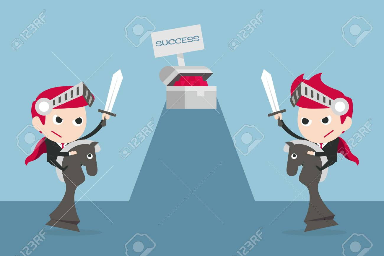 businessman fighting for success, vector Stock Photo - 23131556