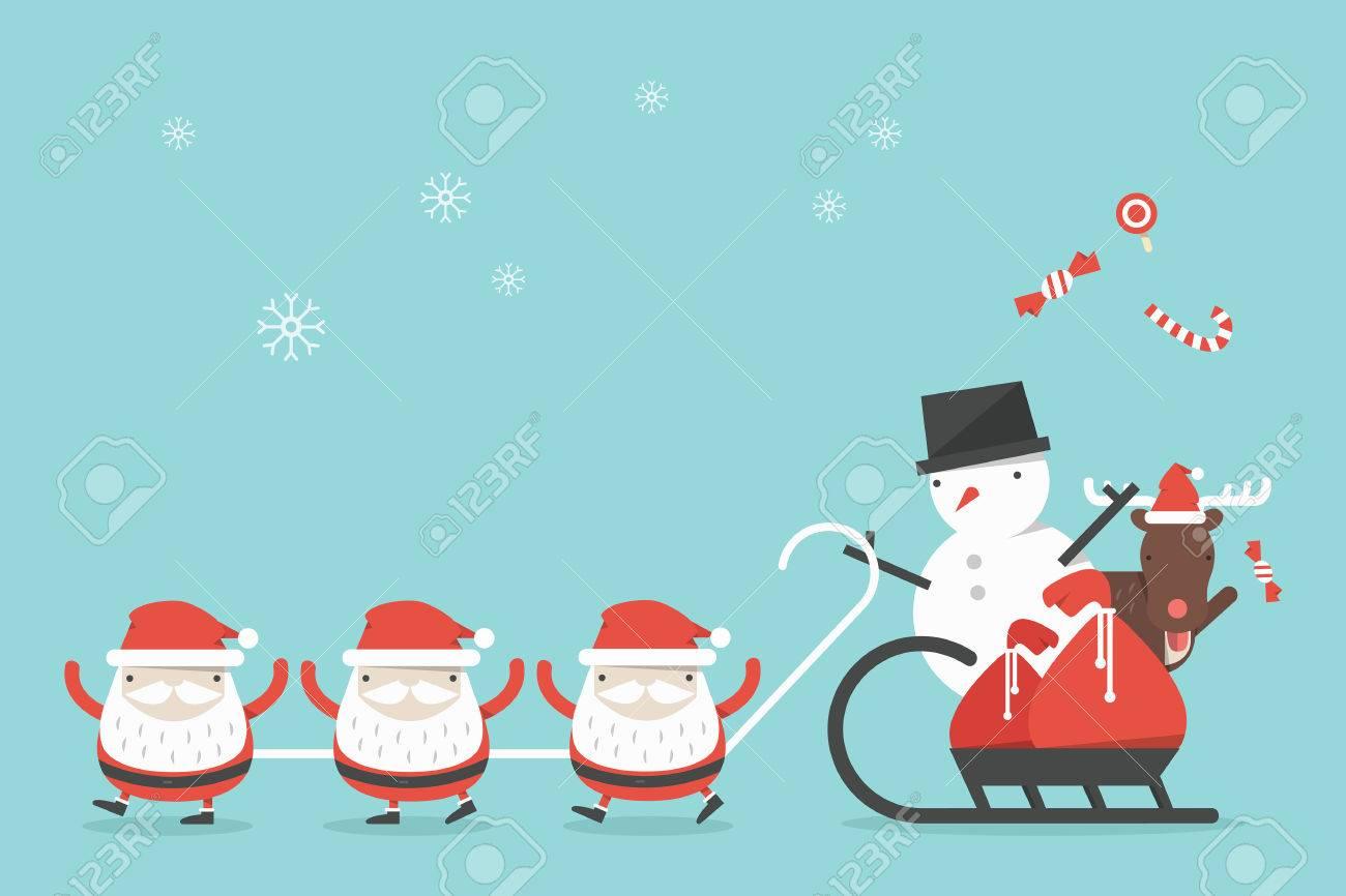 Christmas Images Free Cartoon.Funny Christmas Cartoon Background Vector