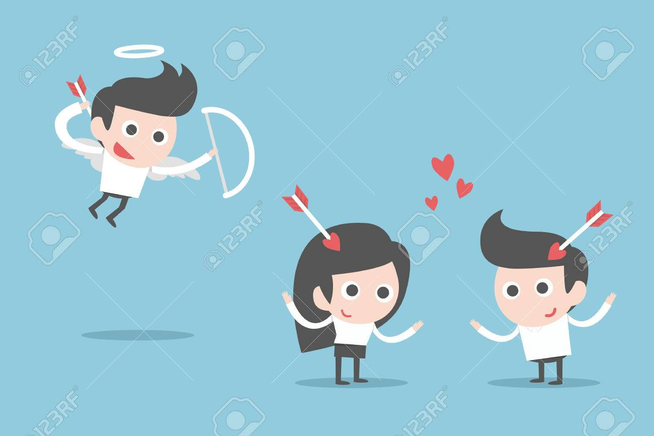 Valentine S Day Cartoon Couple With Cupid Royalty Free Cliparts