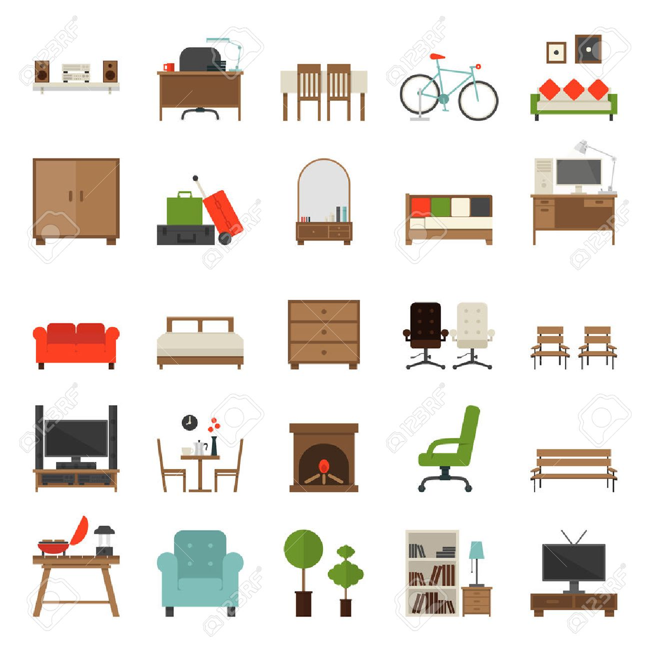 Furniture logo vector free download - Furniture Furniture Icons Flat Design Vector