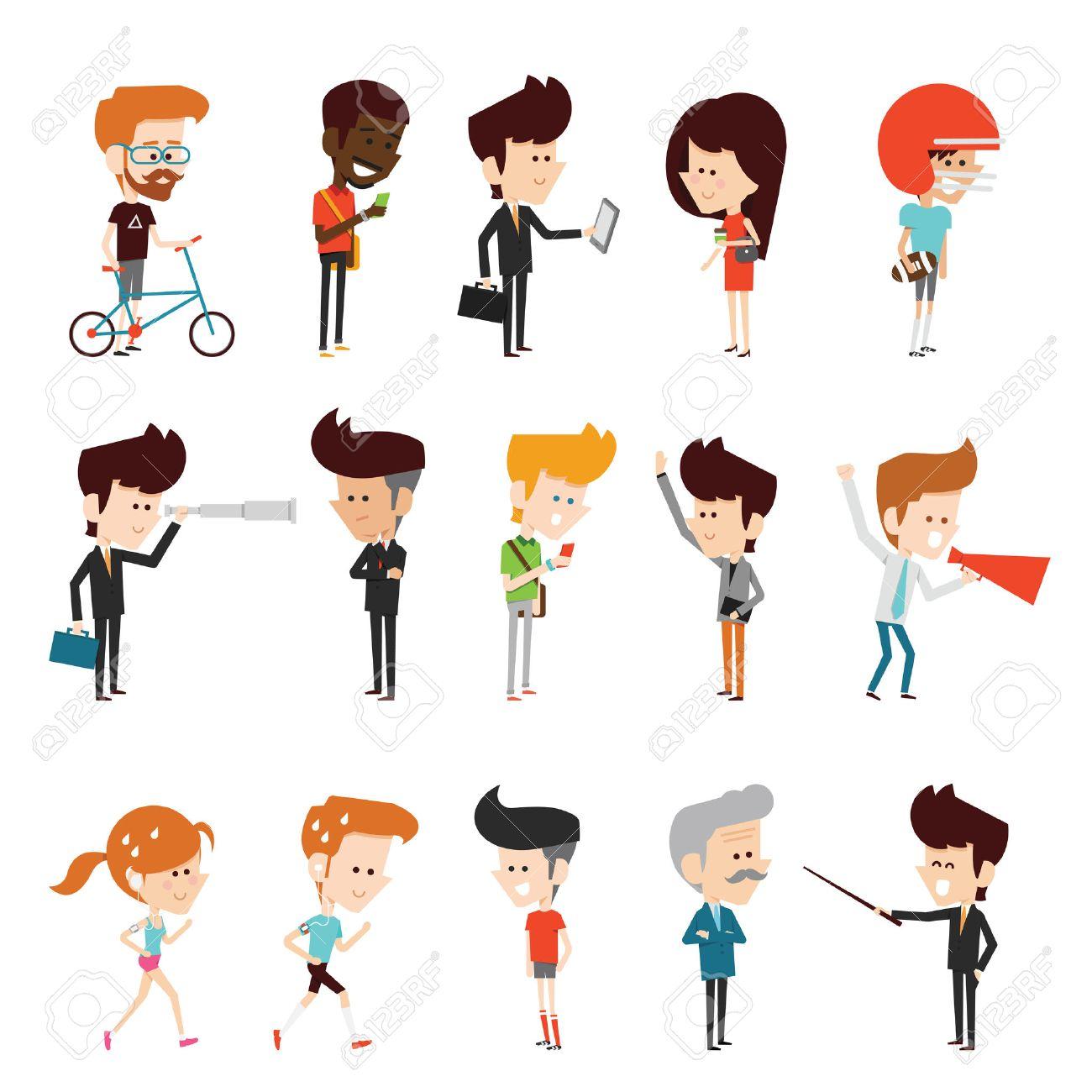 characters design flat cartoon Stock Vector - 45916960