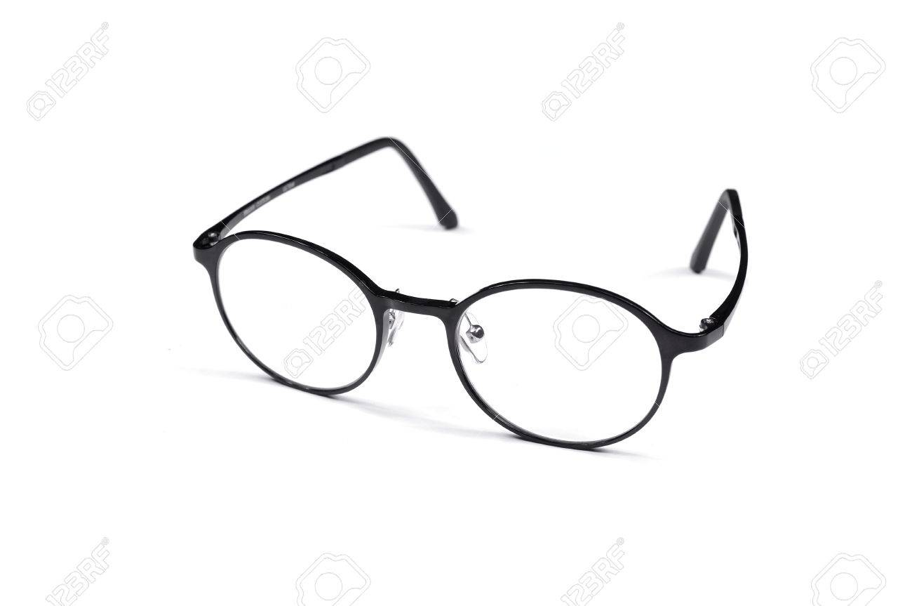 Simple Black Framed Glasses Isolated On A White Background Stock ...
