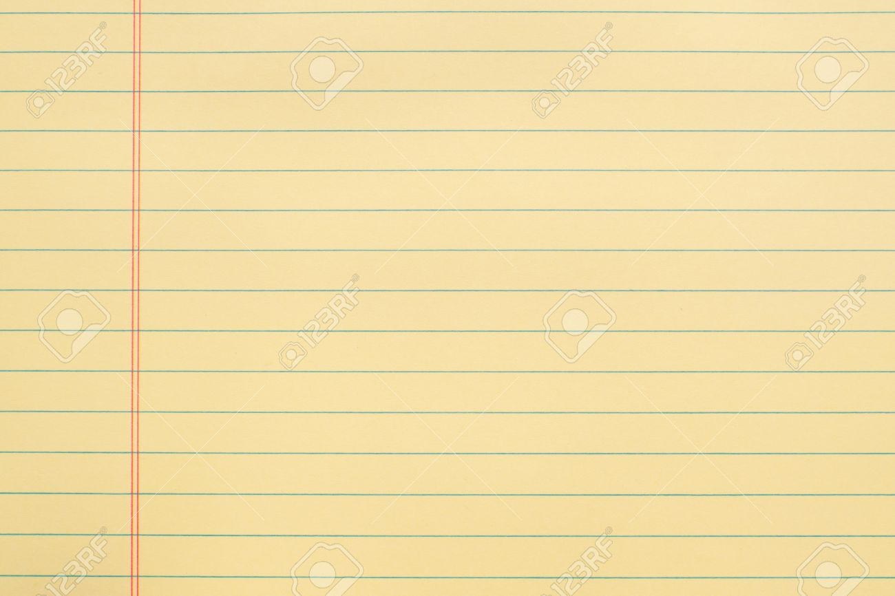Blank Yellow Paper Page With Lines And Red Margin Stock Photo ...