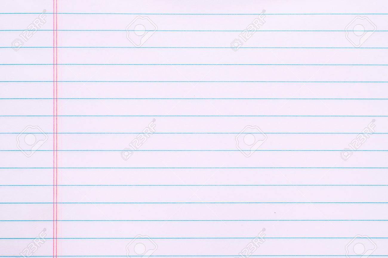 blank white paper page with lines and red margin stock photo