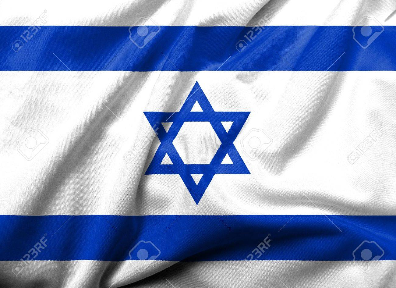 Realistic 3D flag of Israel with satin fabric texture. Stock Photo - 6619742