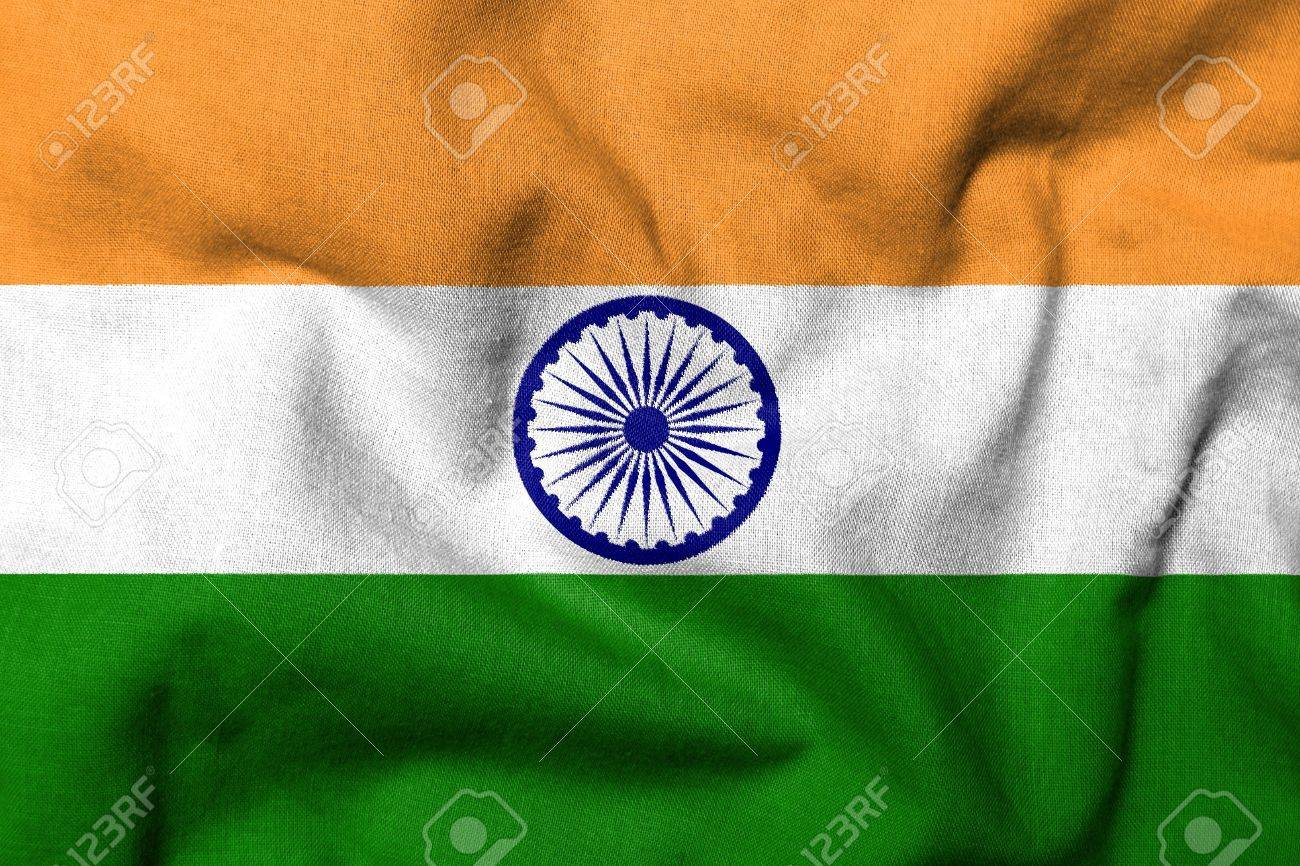 Realistic 3D flag of India with fabric texture. Stock Photo - 6790141