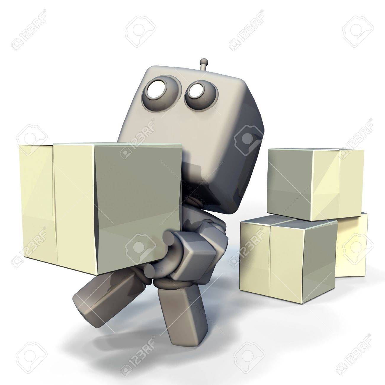 Funny Gray 3D Robot with blank crats isolated on white background Stock Photo - 10886619
