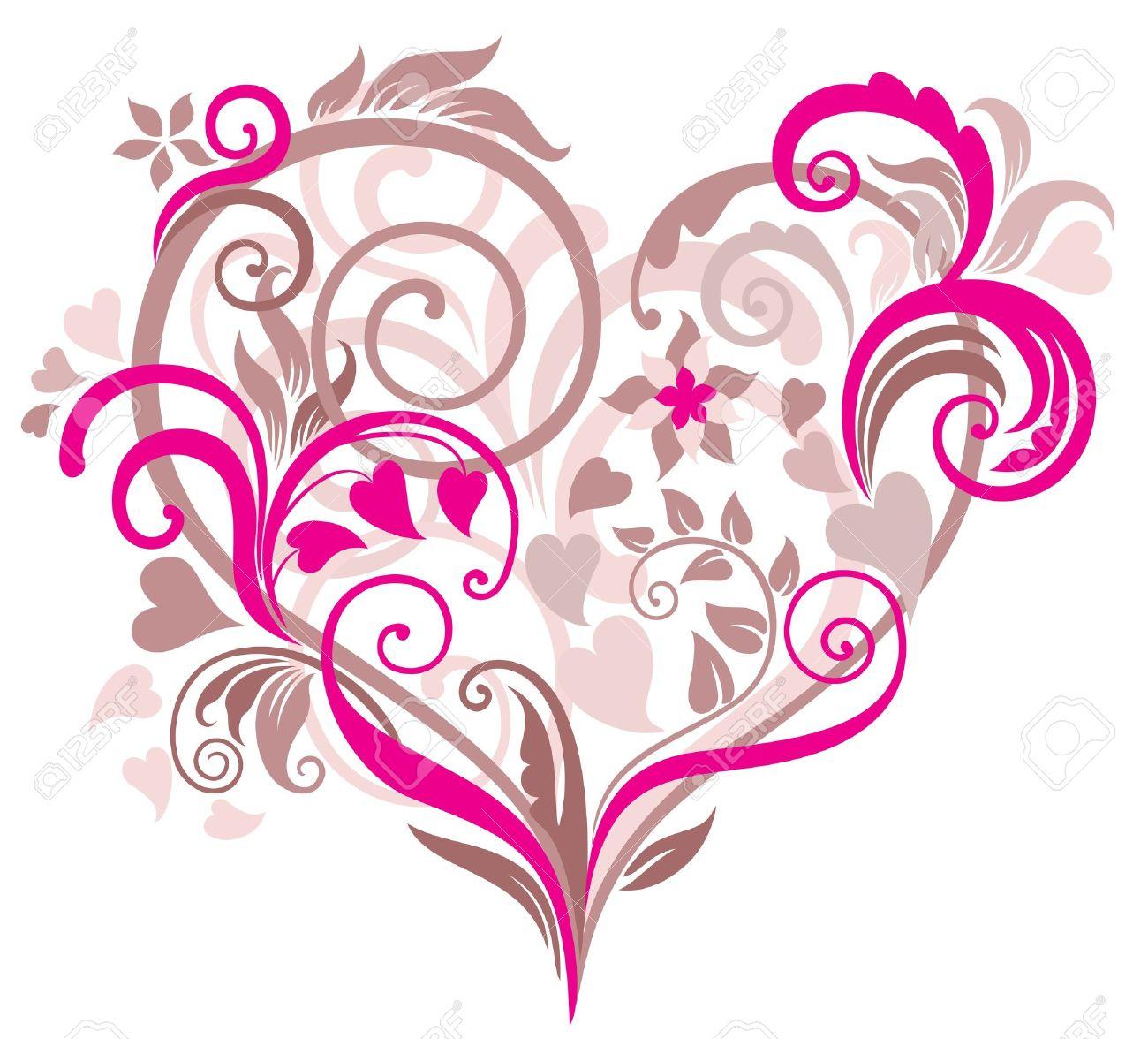 Banque dimages , Belle fond floral avec le coeur dans les tons pastel