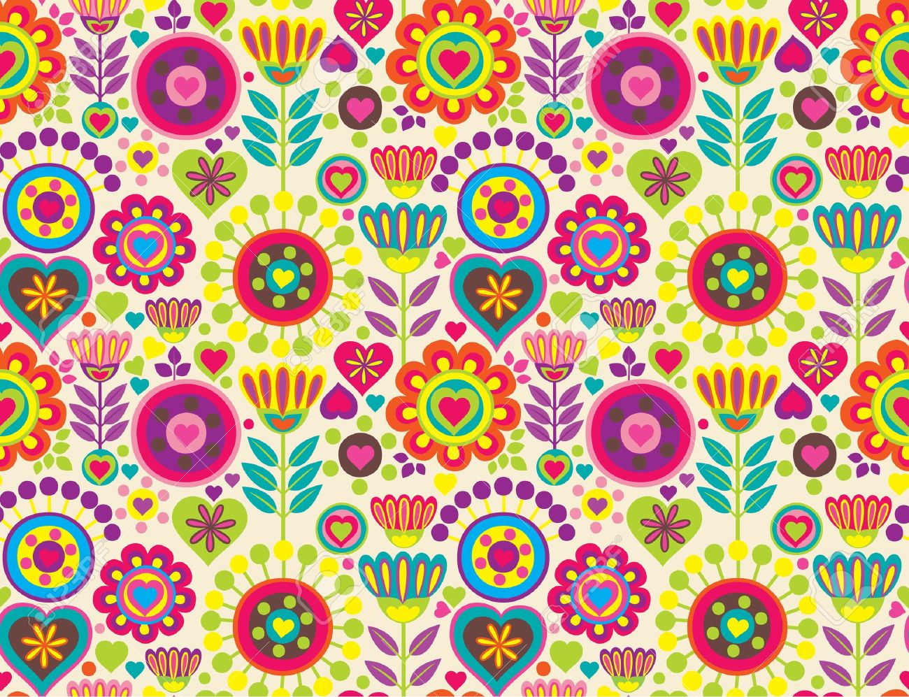 Bright Colorful Funny Vector Seamless Pattern With Flowers Royalty