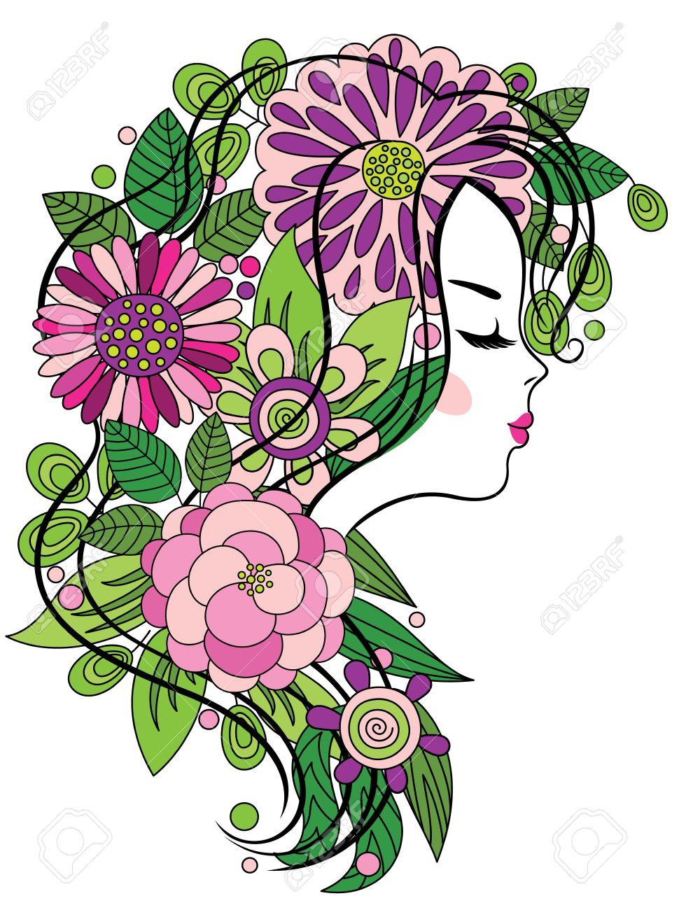 Arte Elegante Línea De Una Hermosa Niña Con Flores De Colores En El ...