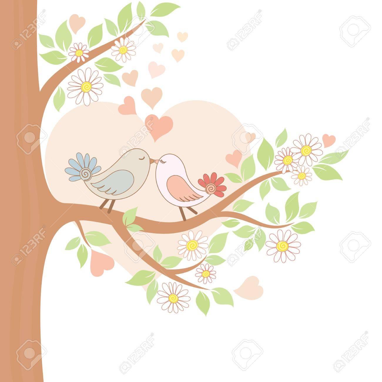 2 つのキスの鳥の装飾的なカラー イラストのイラスト素材 ベクタ Image