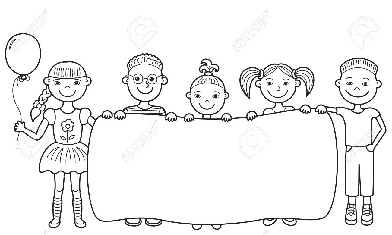 vector sketch of five smiling kids holding an empty banner in their hands - Sketch Images For Kids