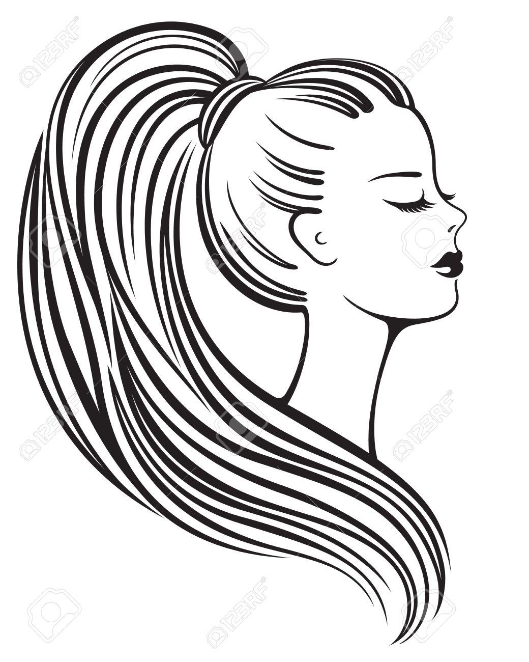 Dessin Au Trait Noir légante silhouette en noir et blanc des dessins au trait d'une jeune
