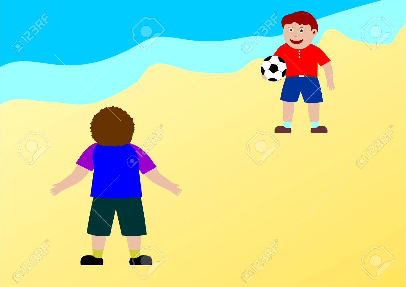 Two Kids Playing On The Beach