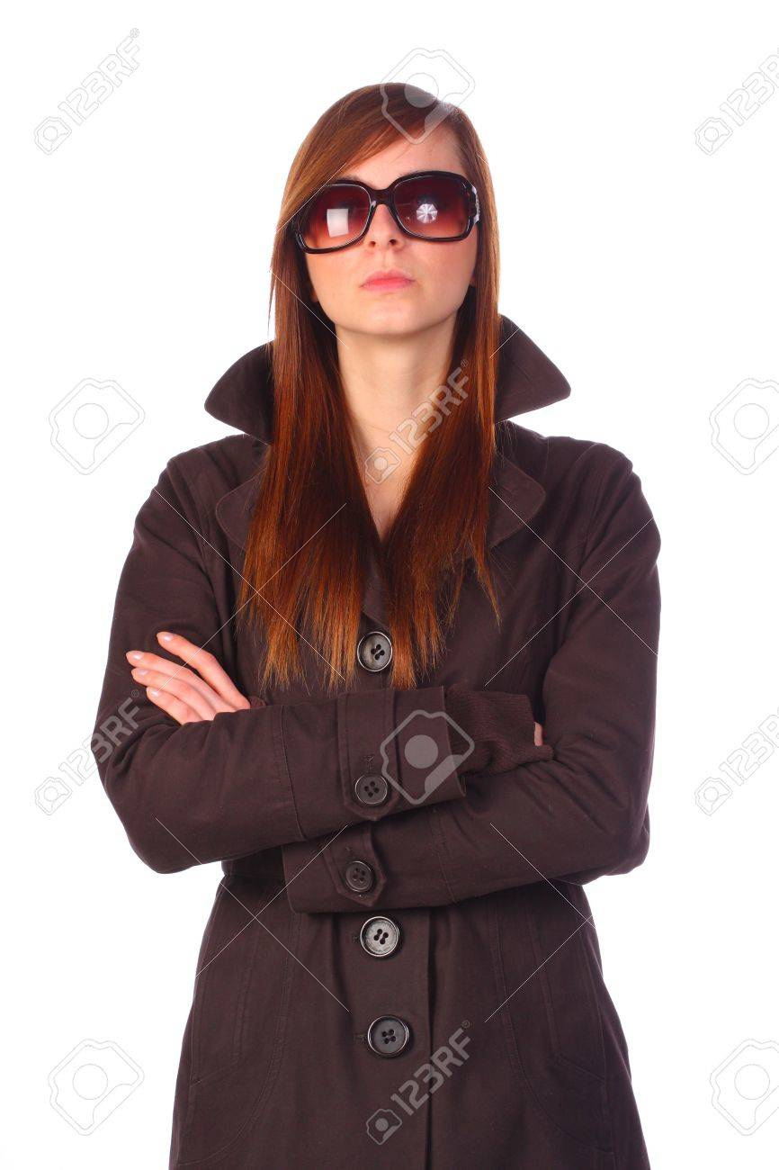 detailed look 21fab 9d755 Elegant determined young woman in trenchcoat with sunglasses..