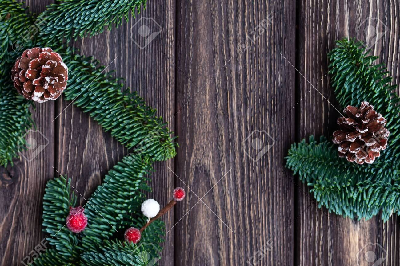 Christmas Tree Branches With Cones And Frozen Berries Rustic Stock Photo Picture And Royalty Free Image Image 119285945