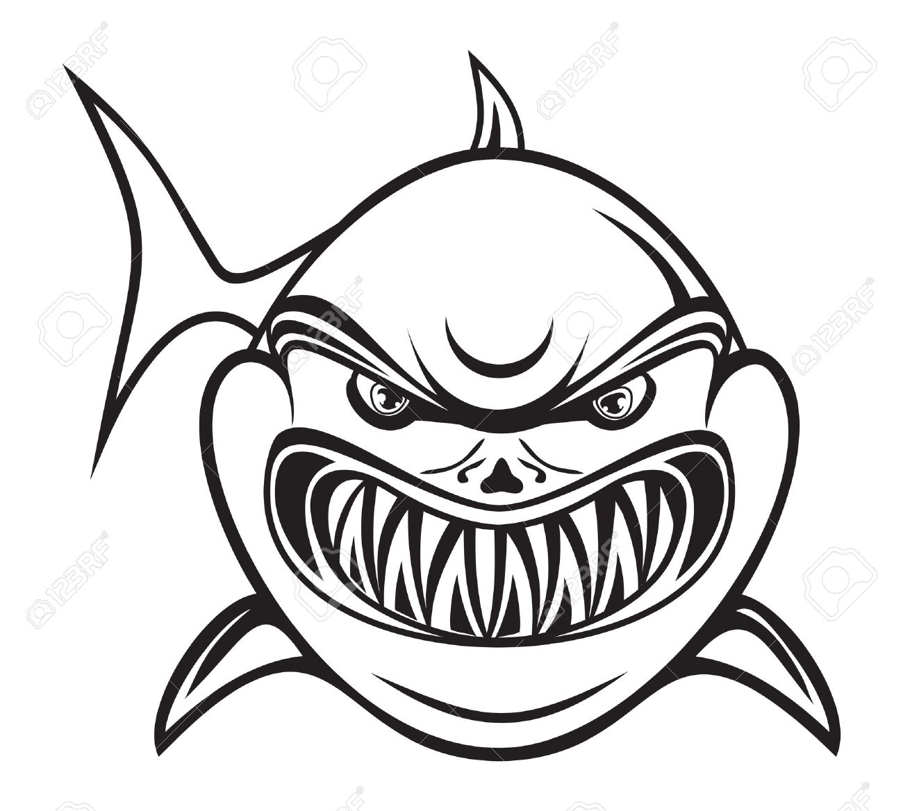 Angry shark black and white Stock Vector - 15770211