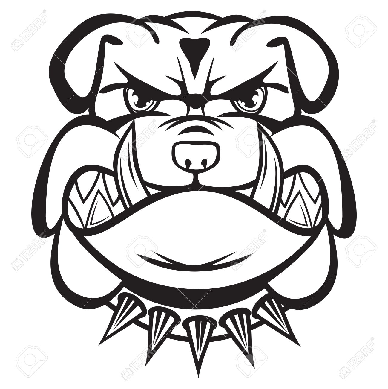 Angry Bulldog Head Black And White Royalty Free Cliparts Vectors