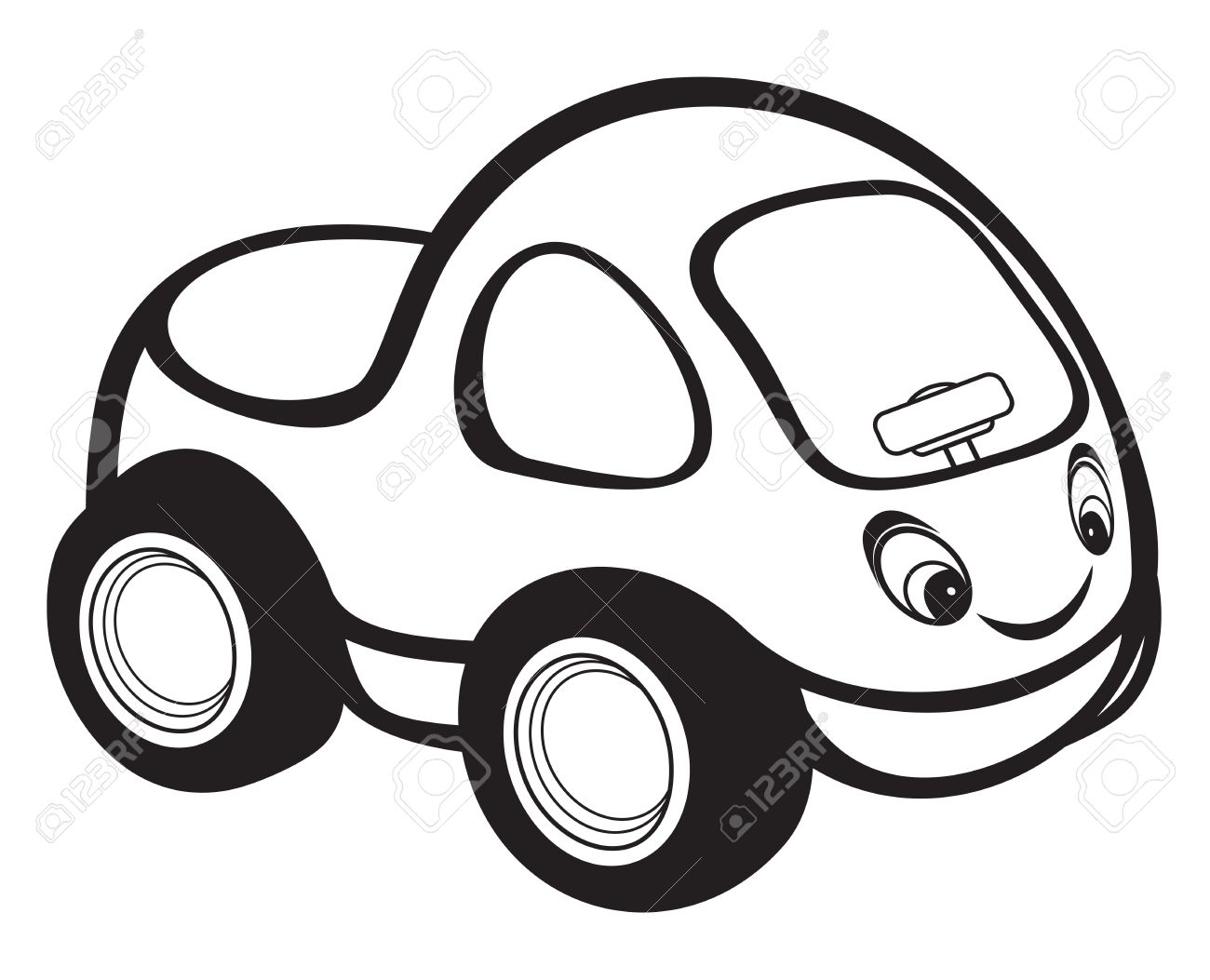 cute kids race car black and white royalty free cliparts vectors rh 123rf com black and white race car clipart black and white cartoon car clipart
