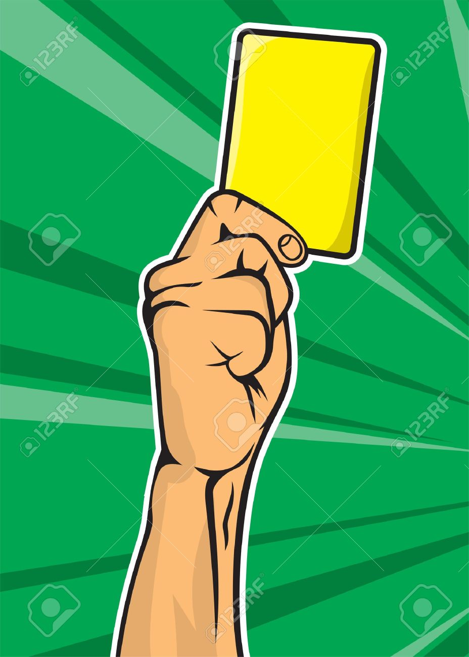 Soccer referee hand with yellow card Stock Vector - 18067020