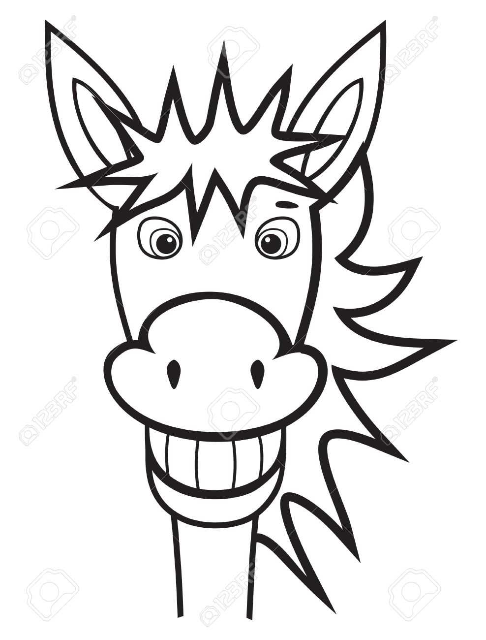 Donkey Face Coloring - Clipart Library •