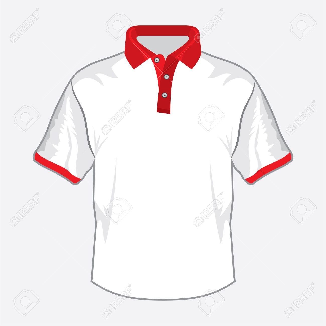 Weiß Polo-Shirt Design Mit Rotem Kragen Lizenzfrei Nutzbare ...