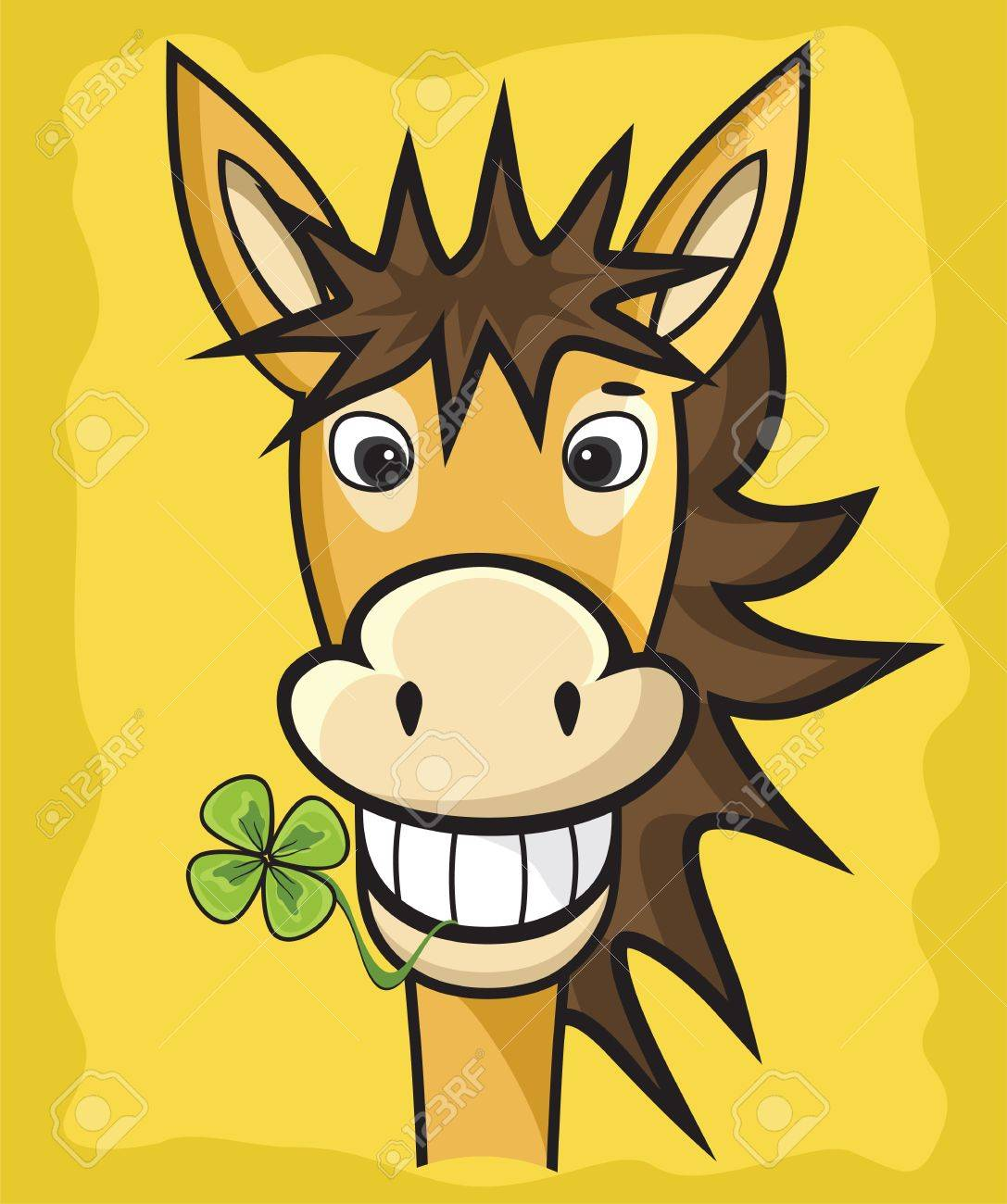 donkey with clover Stock Vector - 18245473