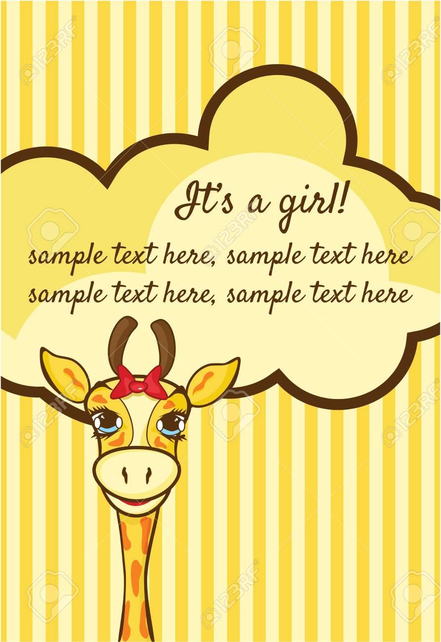 Baby girl arrival announcement card Stock Vector - 18405654