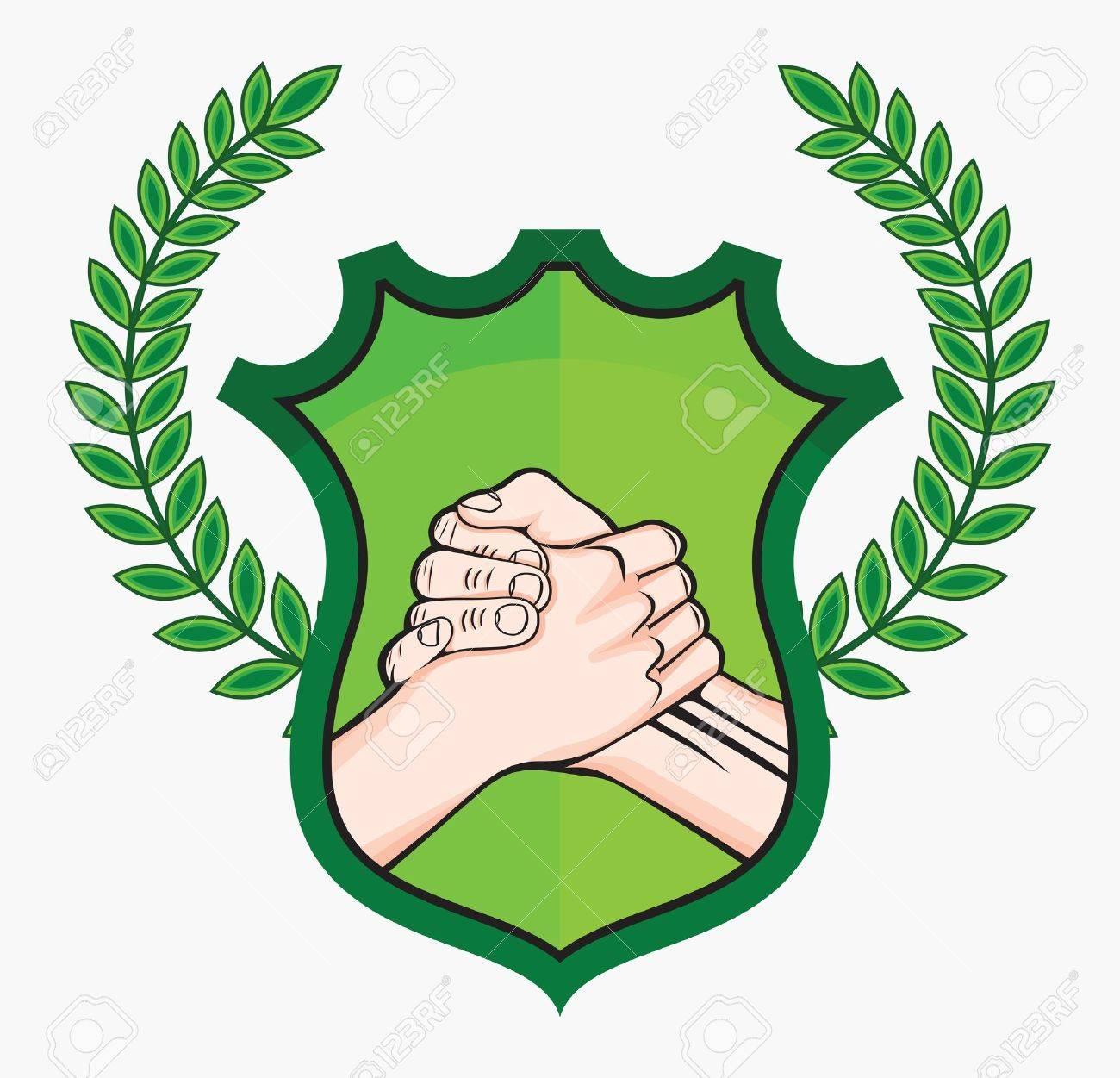 handshake eco symbol Stock Vector - 18689200