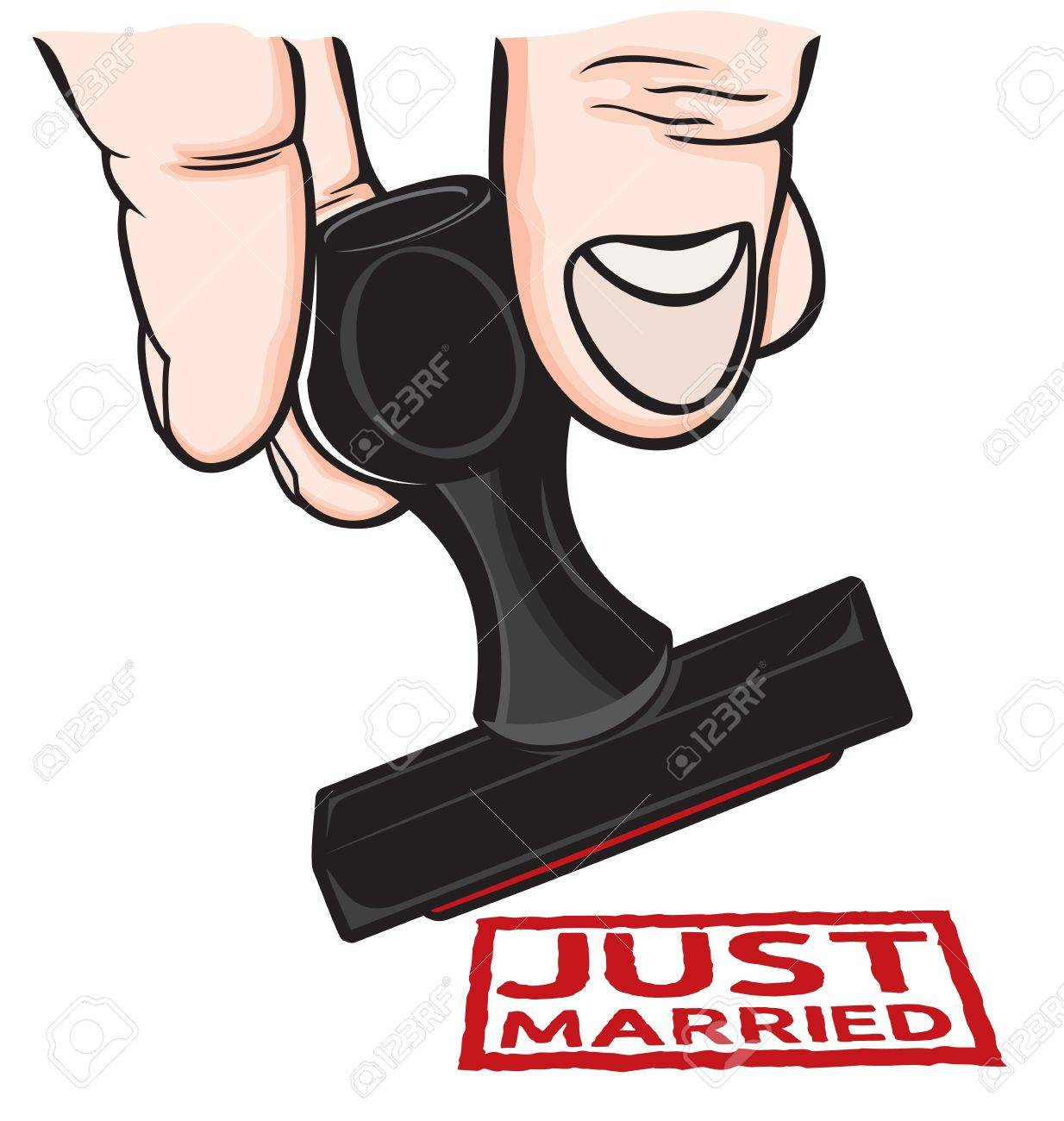 rubber stamp just married royalty free cliparts vectors and stock