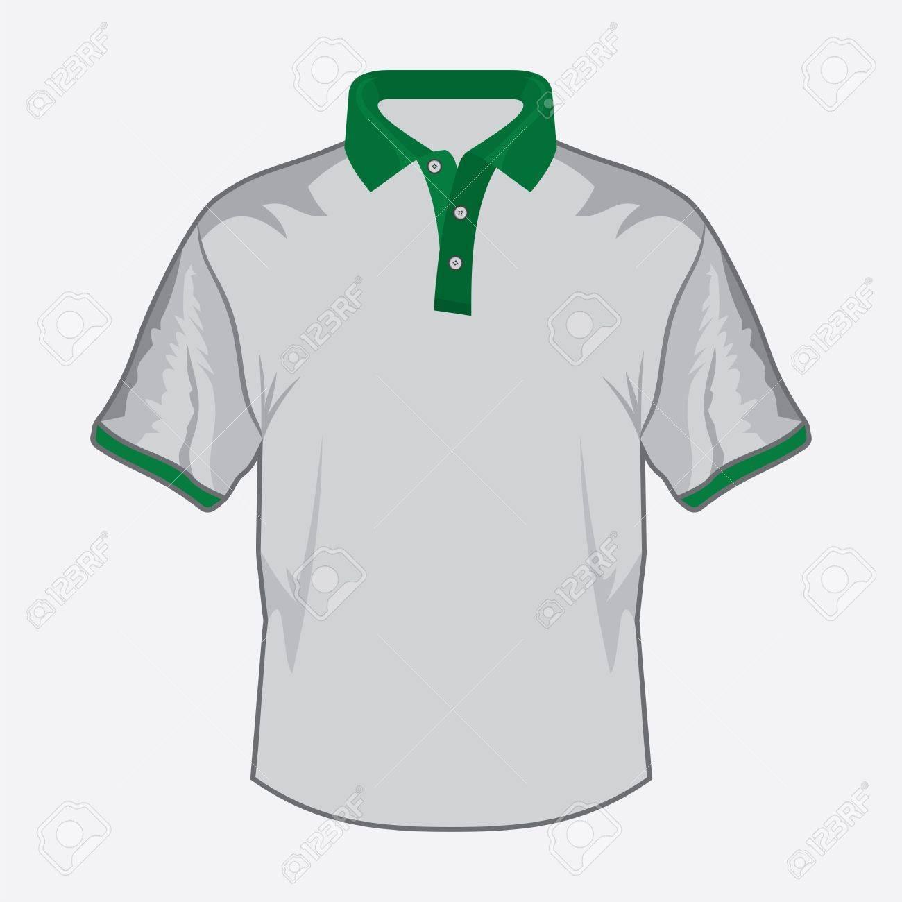 Design t shirt colar - Vector White Polo Shirt Design With Green Collar