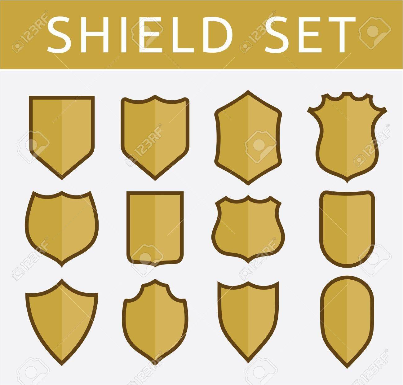 Gold shield set Stock Vector - 18523147