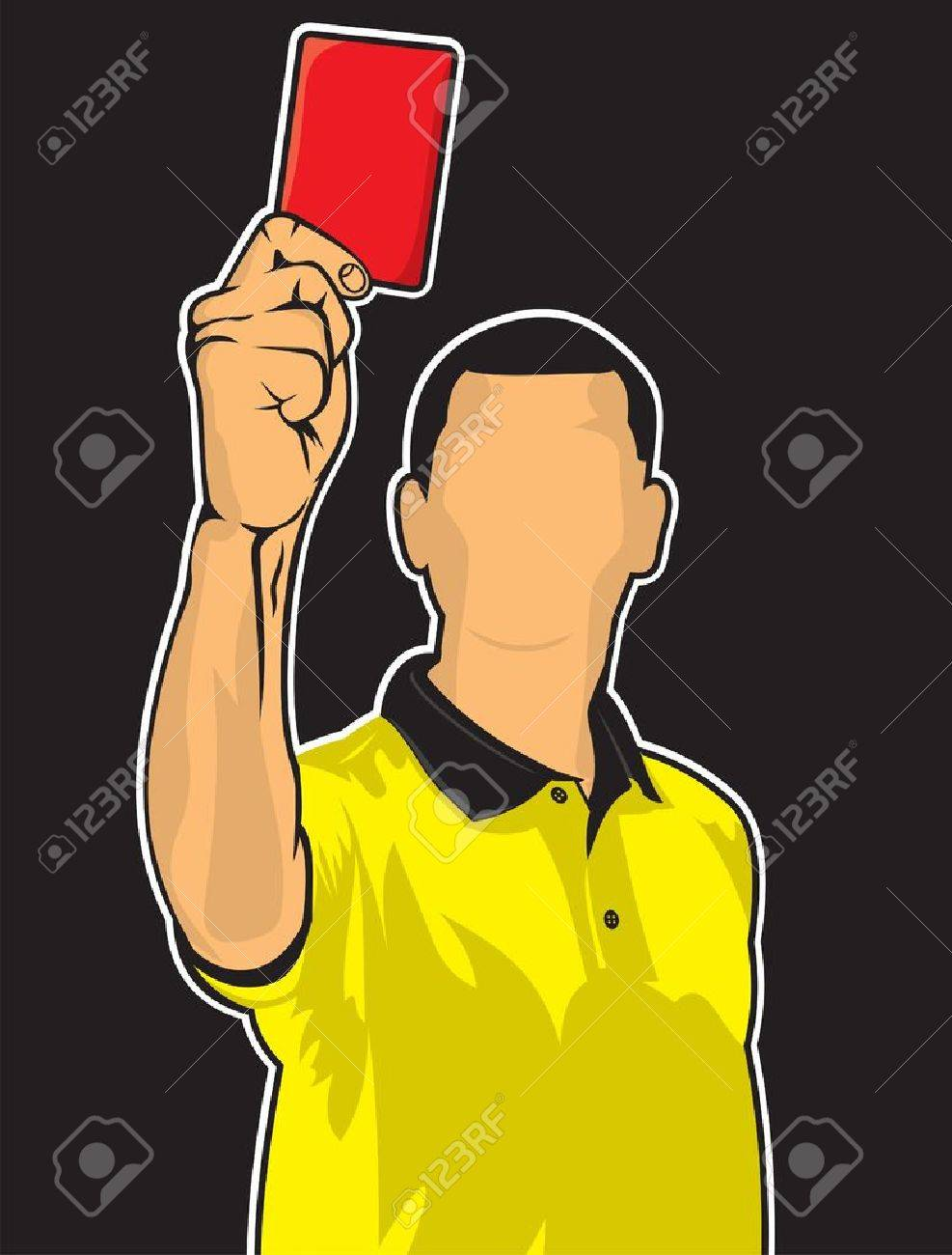 Soccer referee giving red card  football judge hand with red card Stock Vector - 18733952