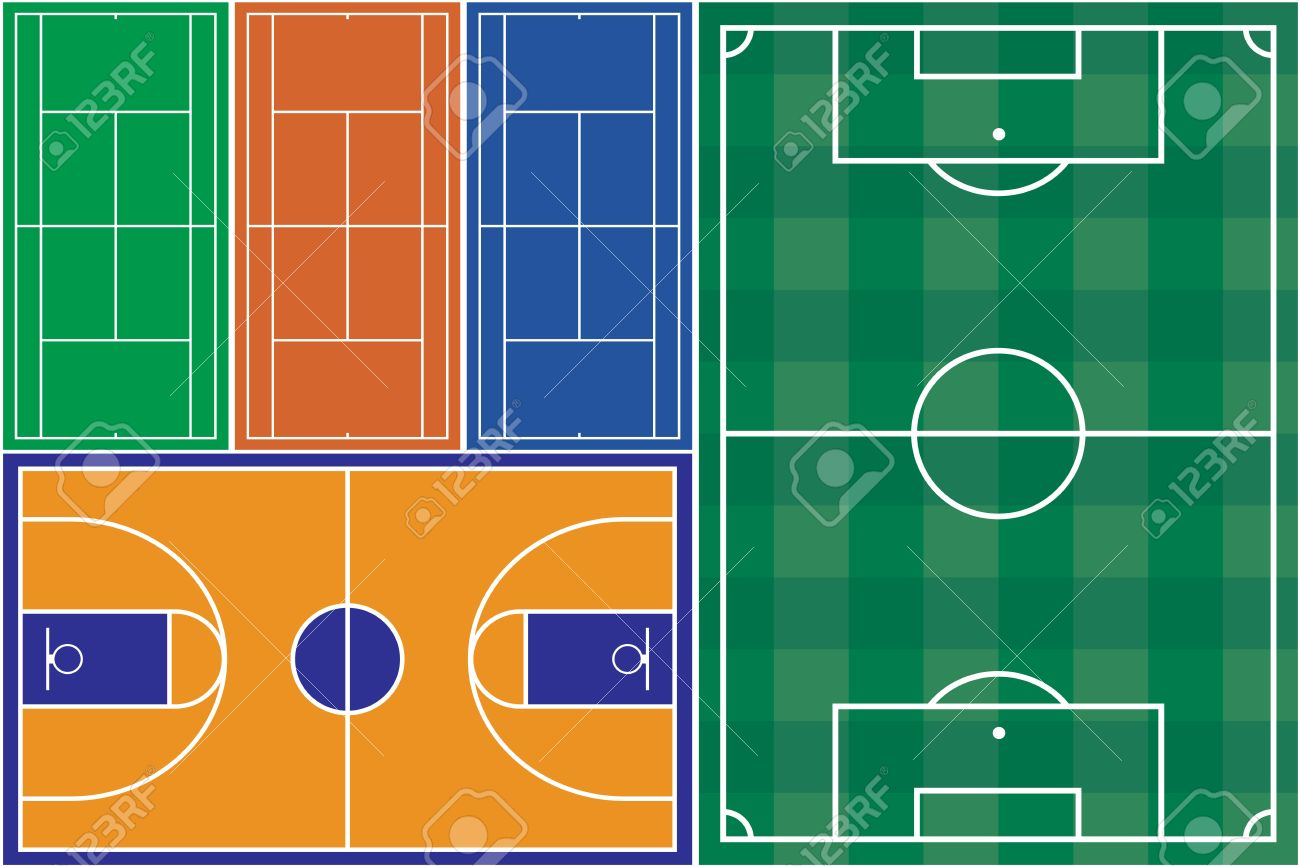 Tennis basketball and football court Stock Vector - 18661813