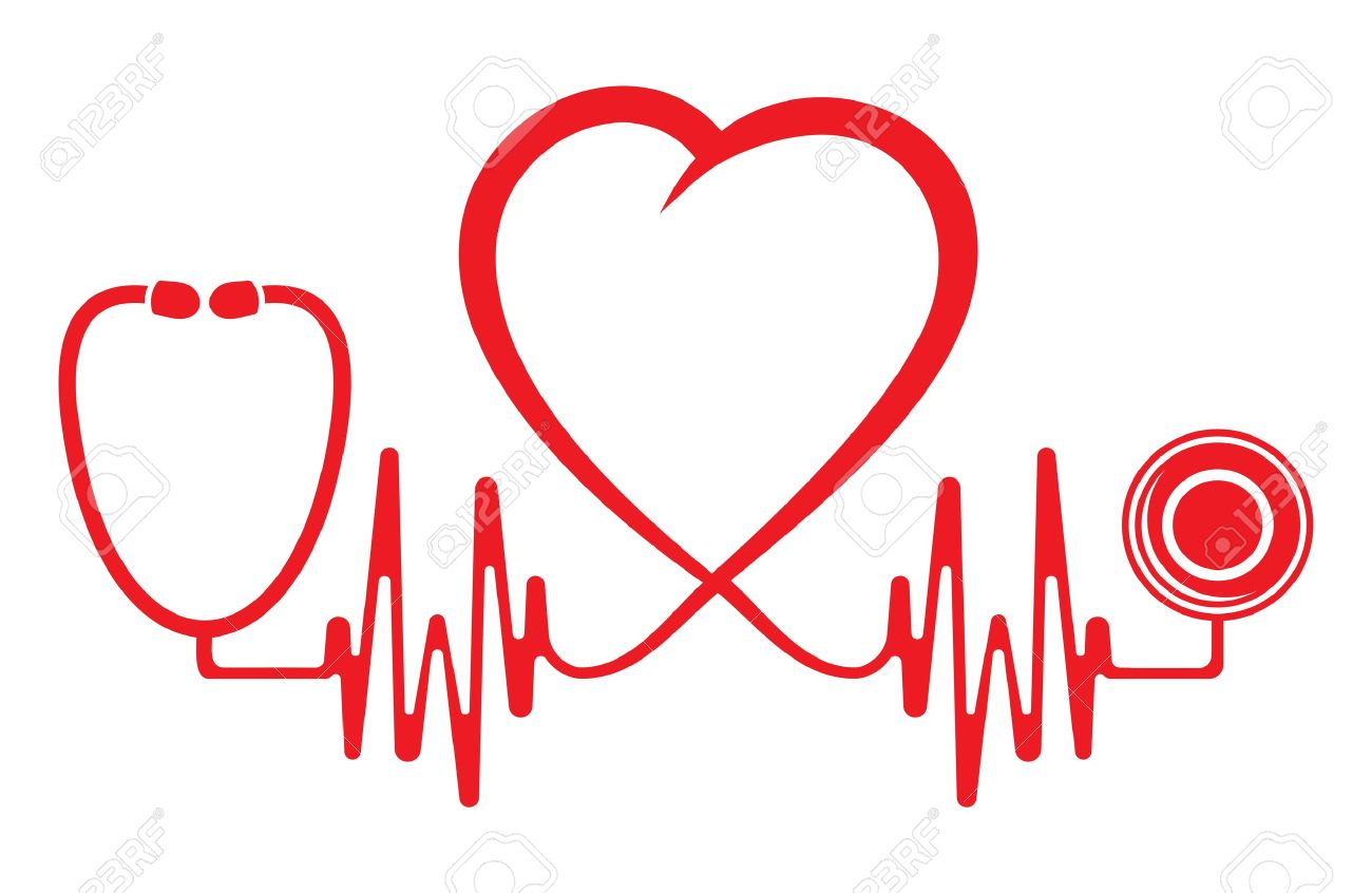 Heart shape ECG line with stethoscope - 18661814
