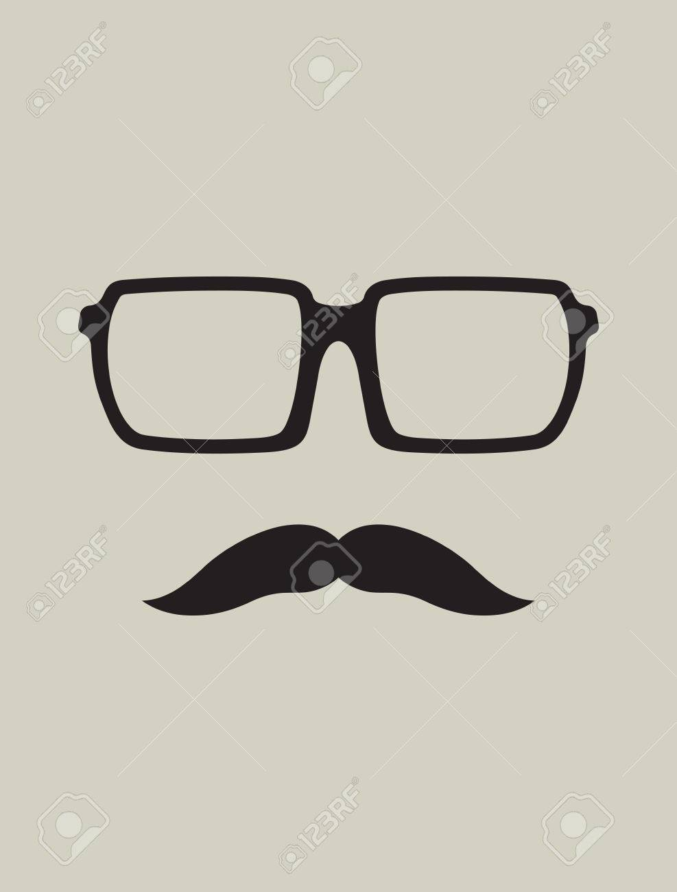 Hipster template  Nerd glasses and mustaches Stock Vector - 22362859